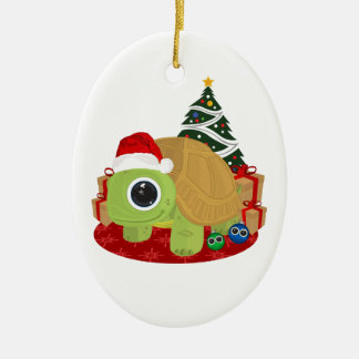 Christmas - Turtle Double-Sided Oval Ceramic Christmas Ornament
