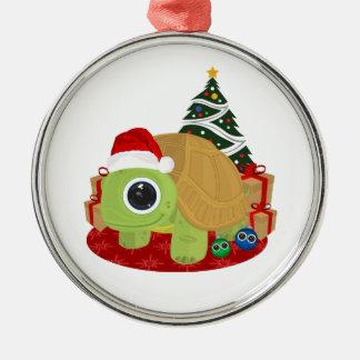 Christmas - Turtle Round Metal Christmas Ornament