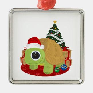 Christmas - Turtle Square Metal Christmas Ornament