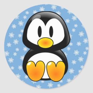Christmas Tux Penguin Round Sticker