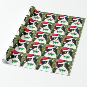 Christmas Themed Christmas Tuxedo Cat Wrapping Paper