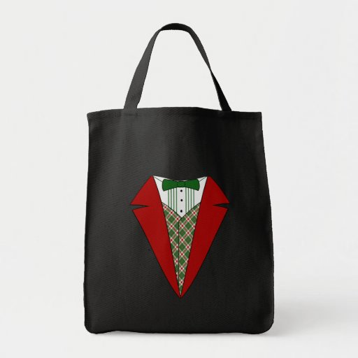 Christmas Tuxedo, Red and Green Elf Grocery Tote Bag