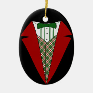 Christmas Tuxedo, Red and Green Elf Christmas Ornament