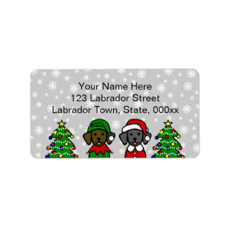 Christmas Twin Lab Puppies Personalized Address Labels