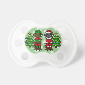 Christmas Twin Lab Puppies Pacifiers