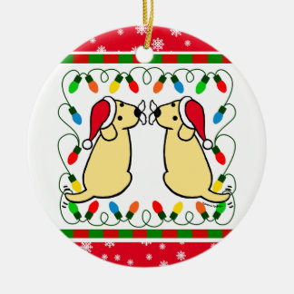 Christmas Twin Yellow Labradors Santa Ornament