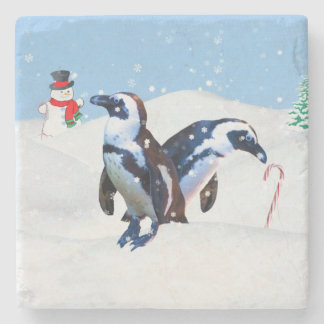 Christmas, Two Penguins, Snowman, and Candy Canes Stone Coaster