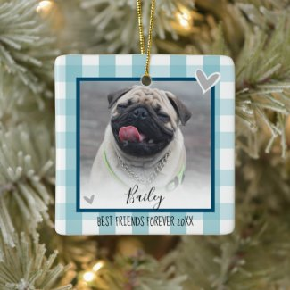 Christmas Two Photo Blue Country Plaid Pet Ceramic Ornament