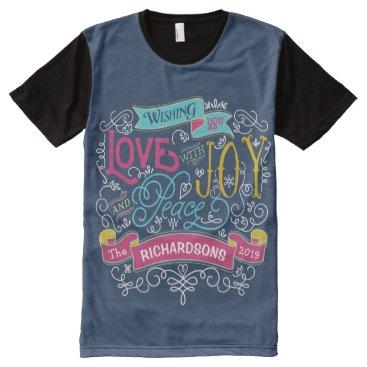 font themed Christmas Typography Love Joy Peace Custom Banner All-Over-Print T-Shirt
