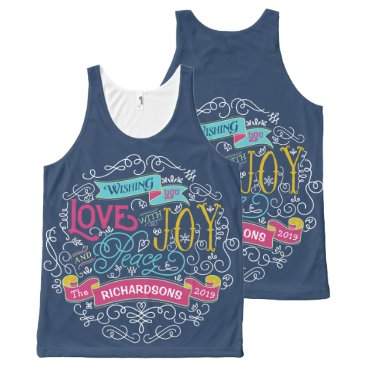 font themed Christmas Typography Love Joy Peace Custom Banner All-Over-Print Tank Top