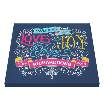 font themed Christmas Typography Love Joy Peace Custom Banner Canvas Print