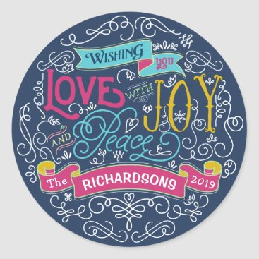 font themed Christmas Typography Love Joy Peace Custom Banner Classic Round Sticker