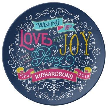 font themed Christmas Typography Love Joy Peace Custom Banner Dinner Plate