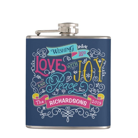 Christmas Typography Love Joy Peace Custom Banner Hip Flask