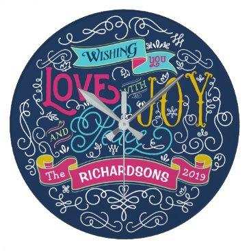 font themed Christmas Typography Love Joy Peace Custom Banner Large Clock