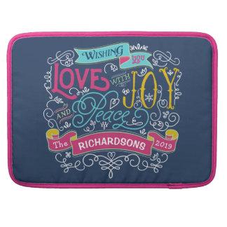 Christmas Typography Love Joy Peace Custom Banner MacBook Pro Sleeve