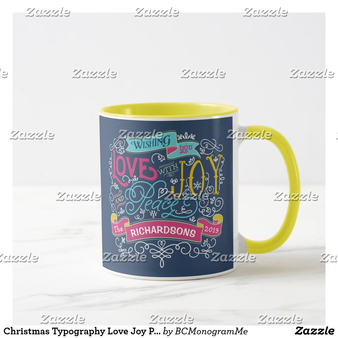 Christmas Typography Love Joy Peace Custom Banner Mug