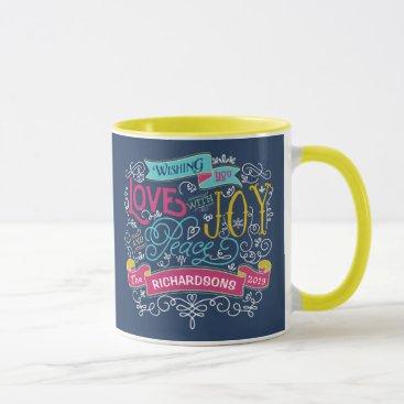 font themed Christmas Typography Love Joy Peace Custom Banner Mug