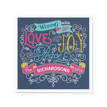 font themed Christmas Typography Love Joy Peace Custom Banner Paper Napkin