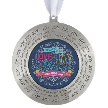 font themed Christmas Typography Love Joy Peace Custom Banner Pewter Ornament