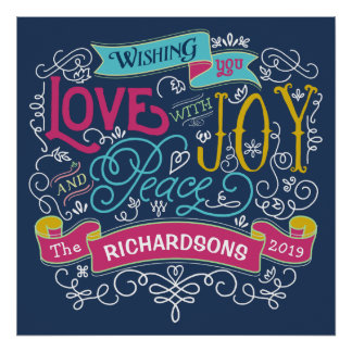 Christmas Typography Love Joy Peace Custom Banner Poster