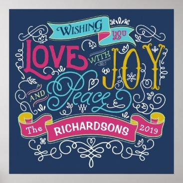 font themed Christmas Typography Love Joy Peace Custom Banner Poster