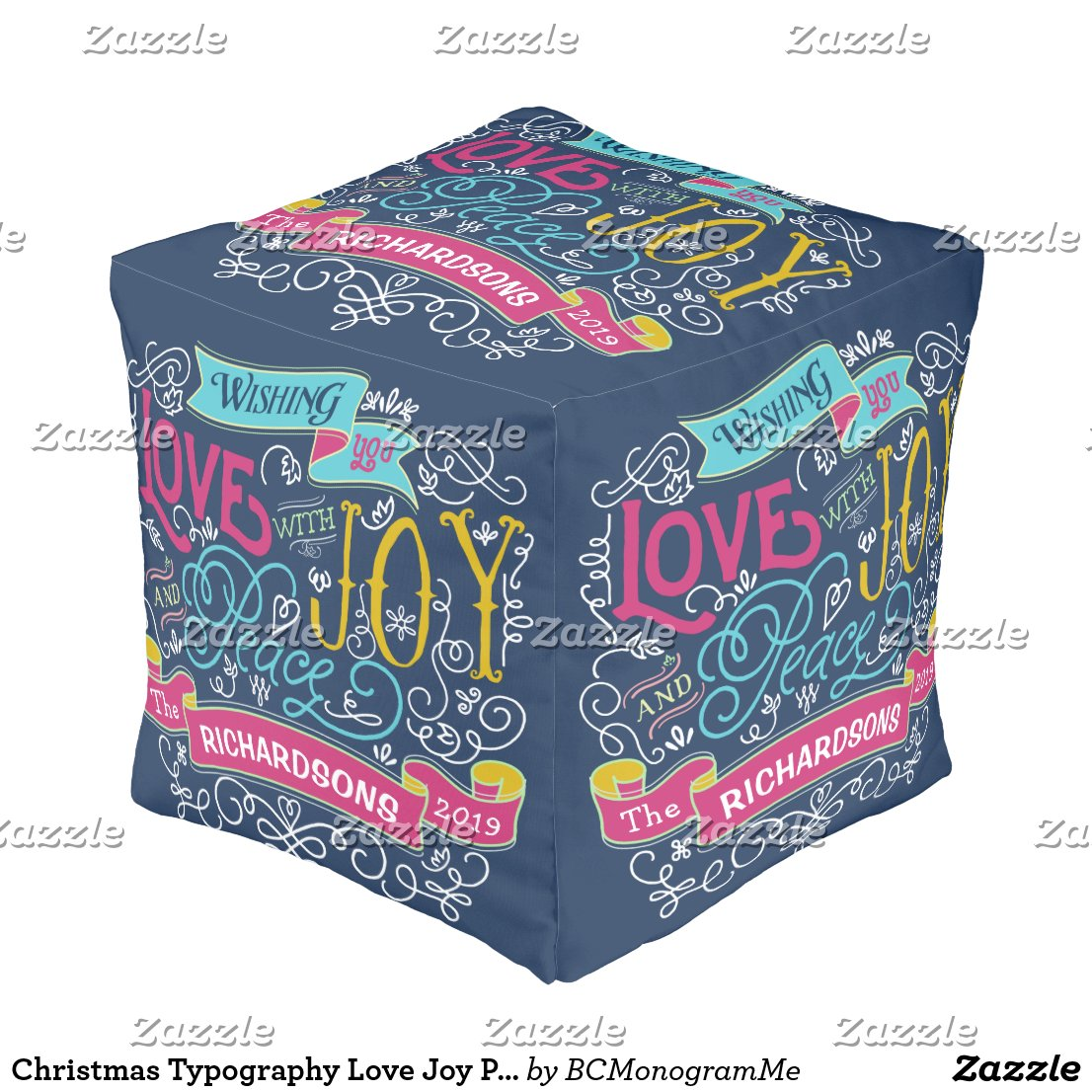 Christmas Typography Love Joy Peace Custom Banner Pouf