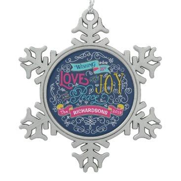 font themed Christmas Typography Love Joy Peace Custom Banner Snowflake Pewter Christmas Ornament