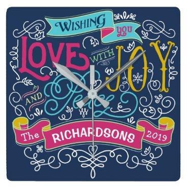 font themed Christmas Typography Love Joy Peace Custom Banner Square Wall Clock