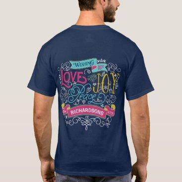 font themed Christmas Typography Love Joy Peace Custom Banner T-Shirt