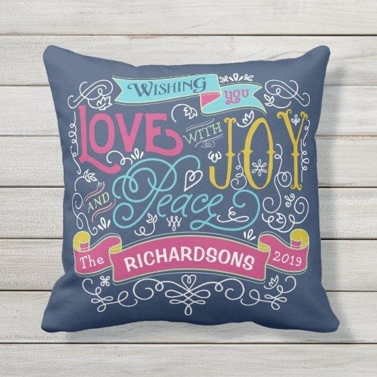 Christmas Typography Love Joy Peace Custom Banner Throw Pillow