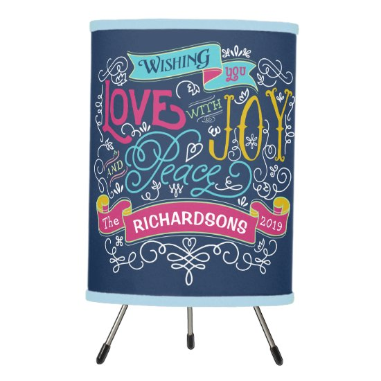 Christmas Typography Love Joy Peace Custom Banner Tripod Lamp
