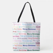 Christmas Typography Pattern Pretty Colorful Tote Bag