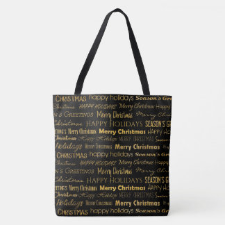 Christmas Typography Pattern Trendy Gold Tote Bag