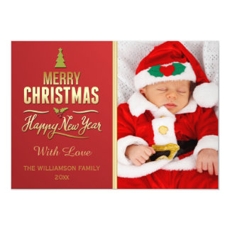Christmas Typography Red Gold Holiday Photo Card