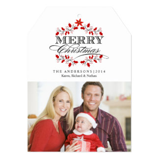Christmas Typography Red Holly Flat Photo Card