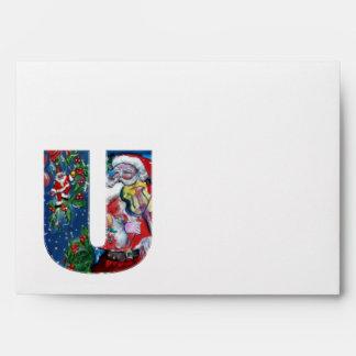CHRISTMAS U LETTER /SANTA  CLAUS WITH VIOLIN ENVELOPES