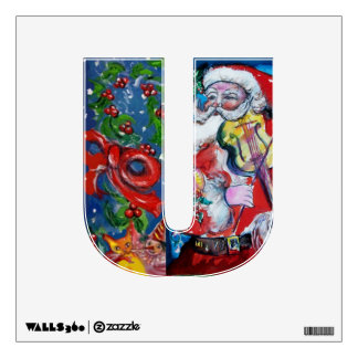 CHRISTMAS U LETTER /SANTA  CLAUS WITH VIOLIN ROOM DECALS