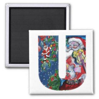 CHRISTMAS U LETTER / SANTA  WITH VIOLIN MONOGRAM 2 INCH SQUARE MAGNET