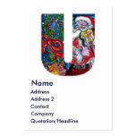 CHRISTMAS U LETTER  / SANTA  WITH VIOLIN MONOGRAM BUSINESS CARD