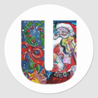 CHRISTMAS U LETTER  / SANTA WITH VIOLIN MONOGRAM ROUND STICKERS