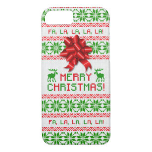 75776a1f2 Christmas Ugly Christmas Sweater Red Green Bow iPhone 8 7 Case