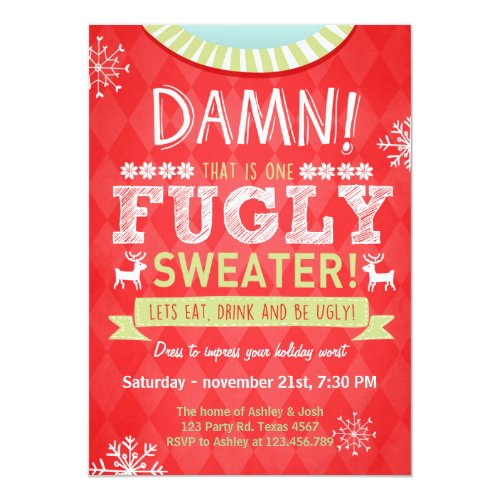 Fugly Sweater party red 5x7 Paper Invitation Card