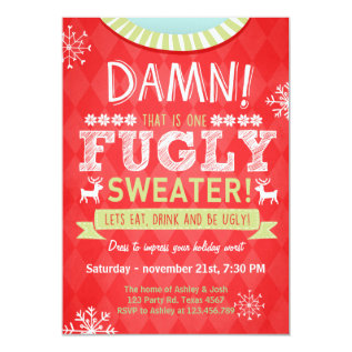Christmas Ugly sweater party Fugly Sweater red Card at Zazzle