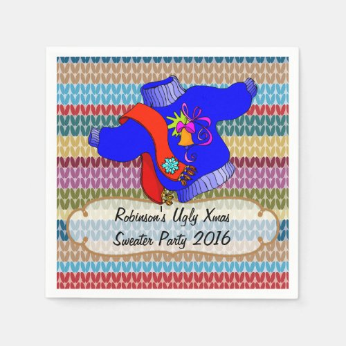 Christmas Ugly Sweater Party Personalized Napkin