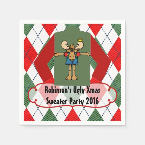 Christmas Ugly Sweater Party Personalized Paper Napkin