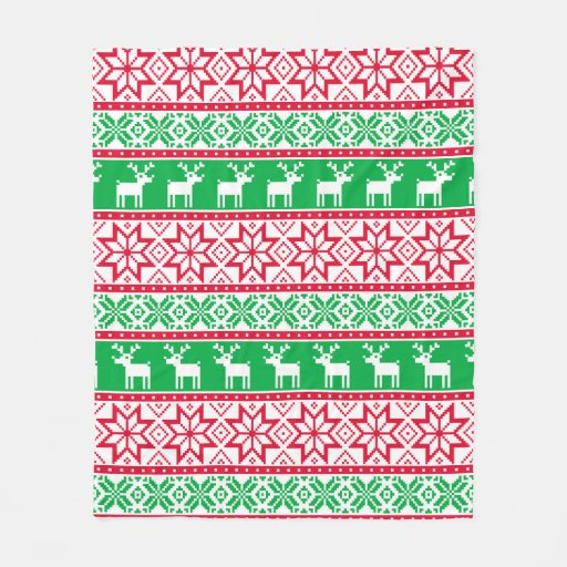 Christmas ugly sweater pattern fleece blanket