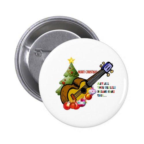 Merry Christmas Ukulele Round Button