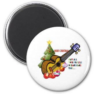 Christmas Ukulele Shirt 2 Inch Round Magnet