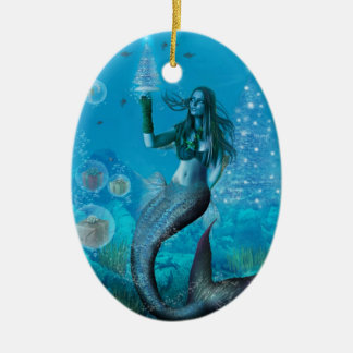 Christmas Under the Sea (Oval Ornament) Ceramic Ornament